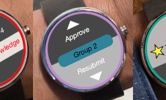 Three possible interfaces for wearables in the classroom: 1) Alerting a teacher that a group has a question; 2) Approving student work or asking them to resubmit it; and 3) Giving quick assessments of student work